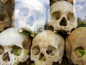 Thousands of people died at the Killing Fields of Choeung Ek. Their remains are inside a Buddhist stupa.