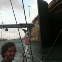 Kyle spent two days on a sailboat sailing through the Panama Canal.