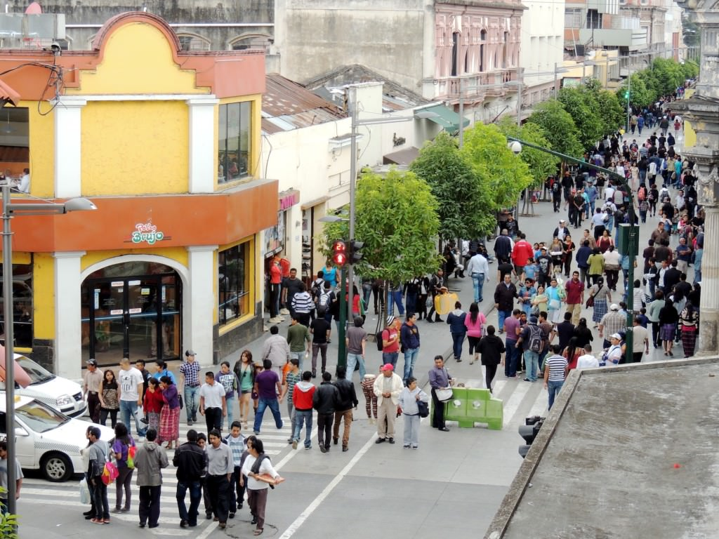 Traveling isn't dangerous even in cities labeled as such. This is a typical day for shoppers in Zona 1 in Guatemala City.