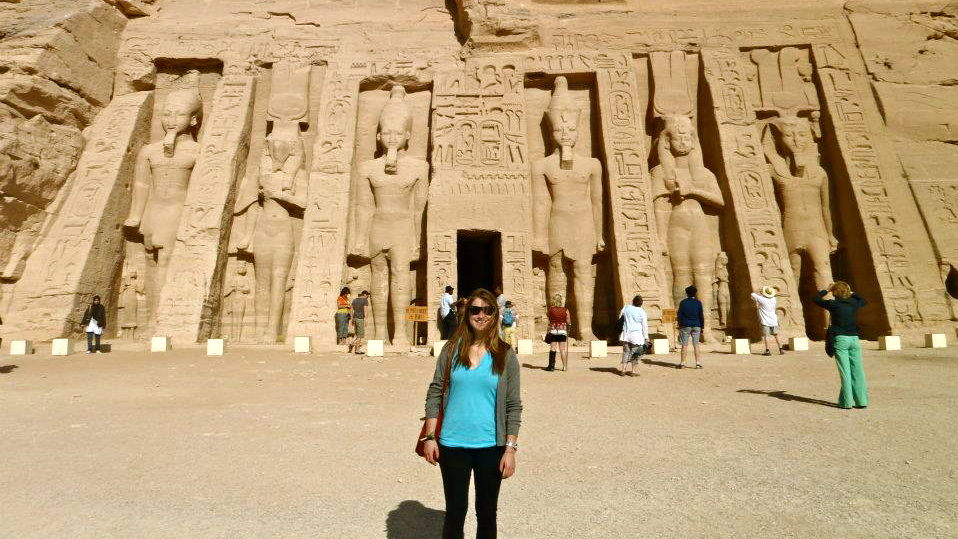 Andrea stands in front of the entrance to one of the Abu Simbel temples. The temples were constructed more than 3,000 years ago.